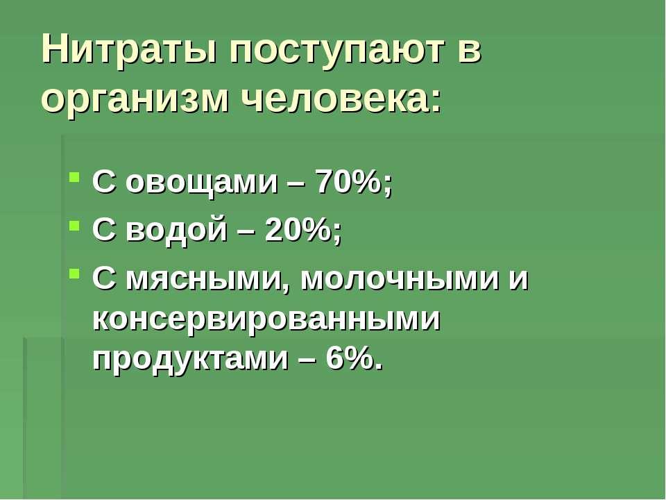 Нитраты поступают в организм человека: С овощами – 70%; С водой – 20%; С мясн...