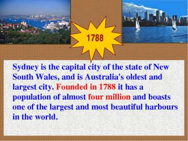 Sydney is the capital city of the state of New South Wales, and is Australia'...