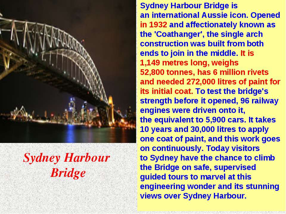 Sydney Harbour Bridge is an international Aussie icon. Opened in 1932 and aff...