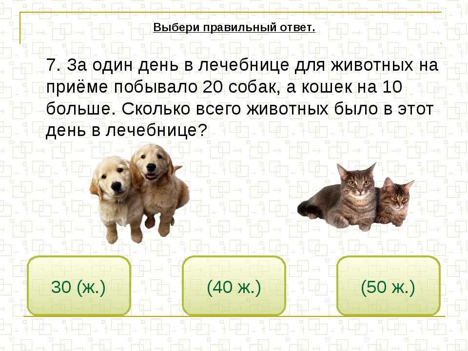 7. За один день в лечебнице для животных на приёме побывало 20 собак, а кошек...