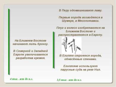 3,5 тыс. лет до н.э. 4 тыс. лет до н.э. На Ближнем Востоке начинают лить брон...