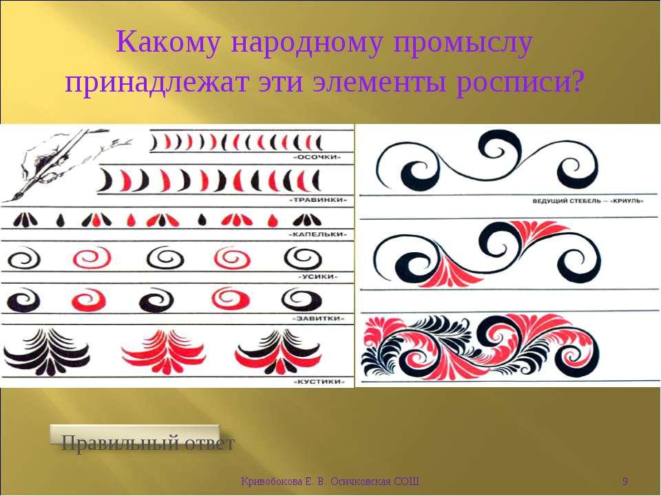 Какому народному промыслу принадлежат эти элементы росписи? * Кривобокова Е. ...