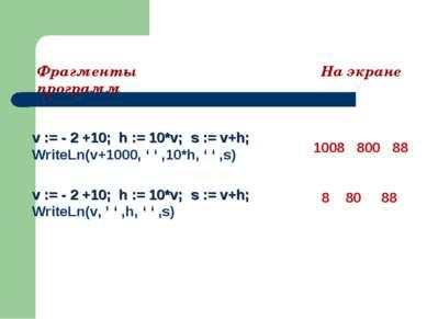 v := - 2 +10; h := 10*v; s := v+h; WriteLn(v+1000, ' ' ,10*h, ' ' ,s) 1008 80...