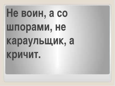 Не воин, а со шпорами, не караульщик, а кричит.