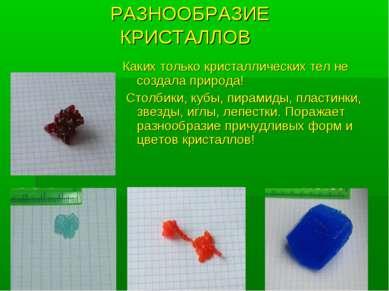 РАЗНООБРАЗИЕ КРИСТАЛЛОВ Каких только кристаллических тел не создала природа! ...