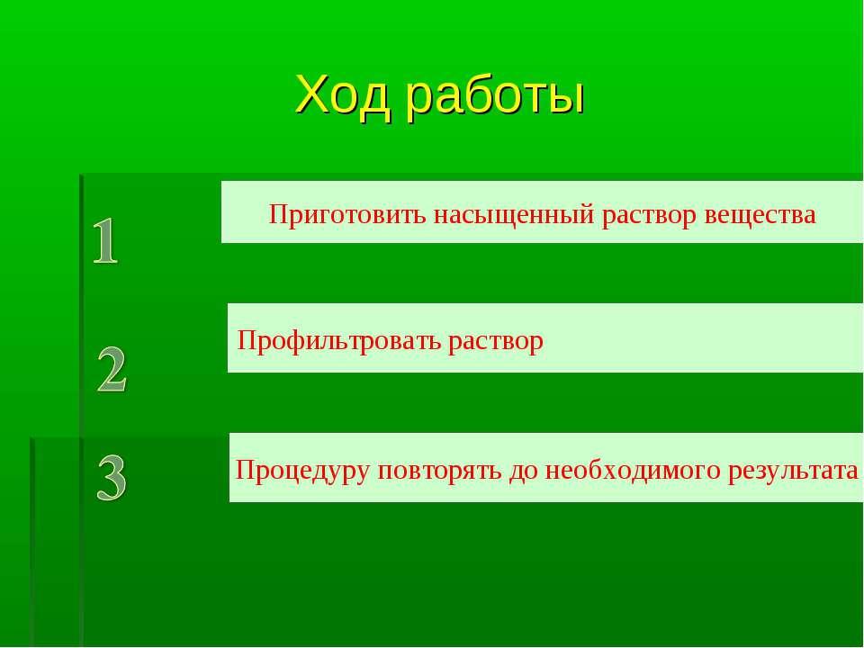 Ход работы Приготовить насыщенный раствор вещества Профильтровать раствор Про...
