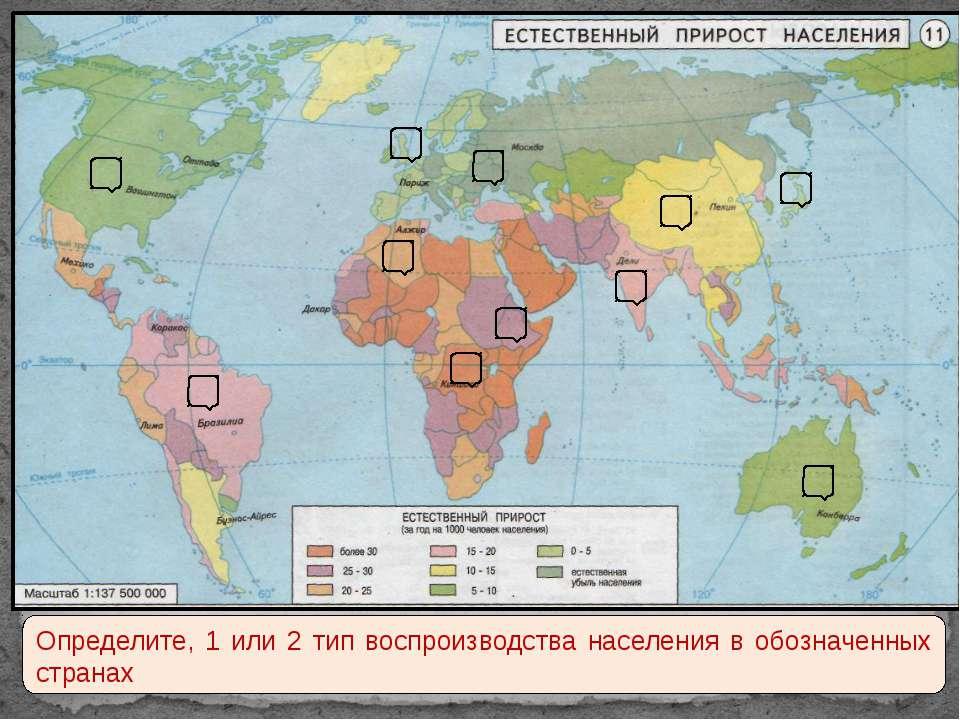 Определите, 1 или 2 тип воспроизводства населения в обозначенных странах