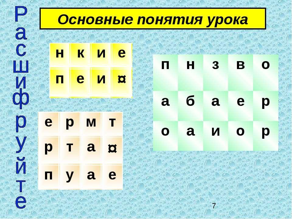 Основные понятия урока н к и е п е и ¤ е р м т р т а ¤ п у а е п н з в о а б ...