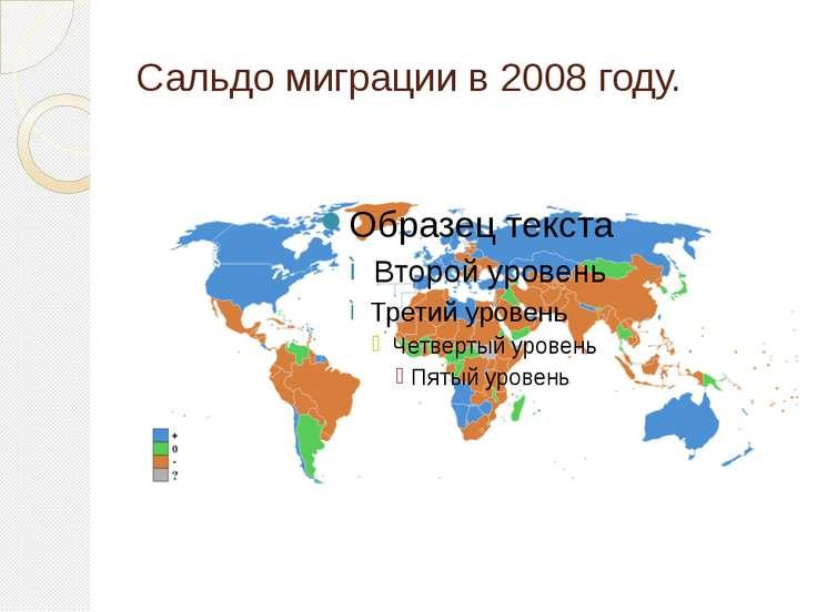 Сальдо миграции в 2008 году.
