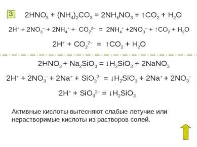 3 2HNO3 + (NH4)2CO3 = 2NH4NO3 + ↑CO2 + H2O 2H+ + 2NO3– + 2NH4+ + CO22– = 2NH4...