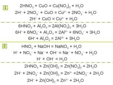2HNO3 + CuO = Cu(NO3)2 + H2O 1 2H+ + 2NO3– + CuO = Cu2+ + 2NO3– + H2O 2H+ + C...