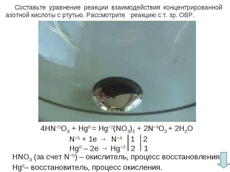 Составьте уравнение реакции взаимодействия концентрированной азотной кислоты ...