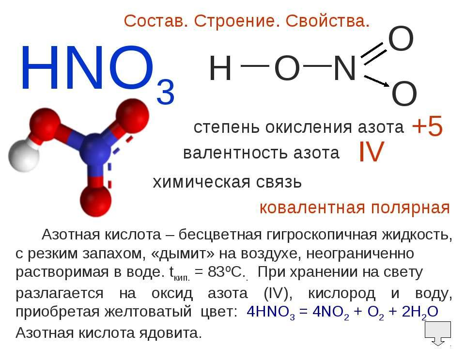 HNO3 Состав. Строение. Свойства. H O N O O — — степень окисления азота валент...