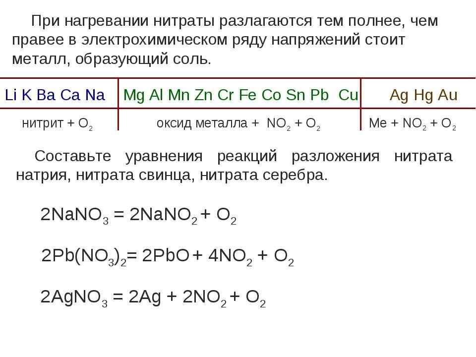 При нагревании нитраты разлагаются тем полнее, чем правее в электрохимическом...