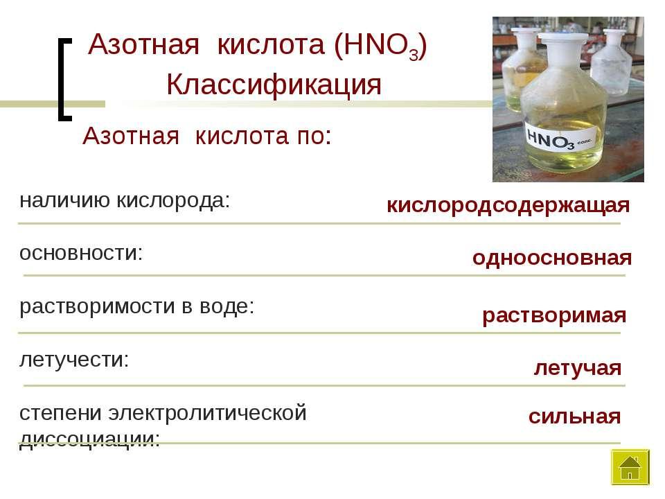 Азотная кислота (HNO3) Классификация наличию кислорода: основности: растворим...