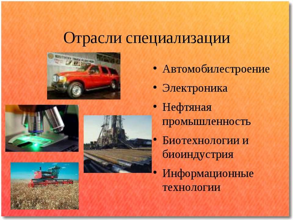 Отрасли специализации Автомобилестроение Электроника Нефтяная промышленность ...