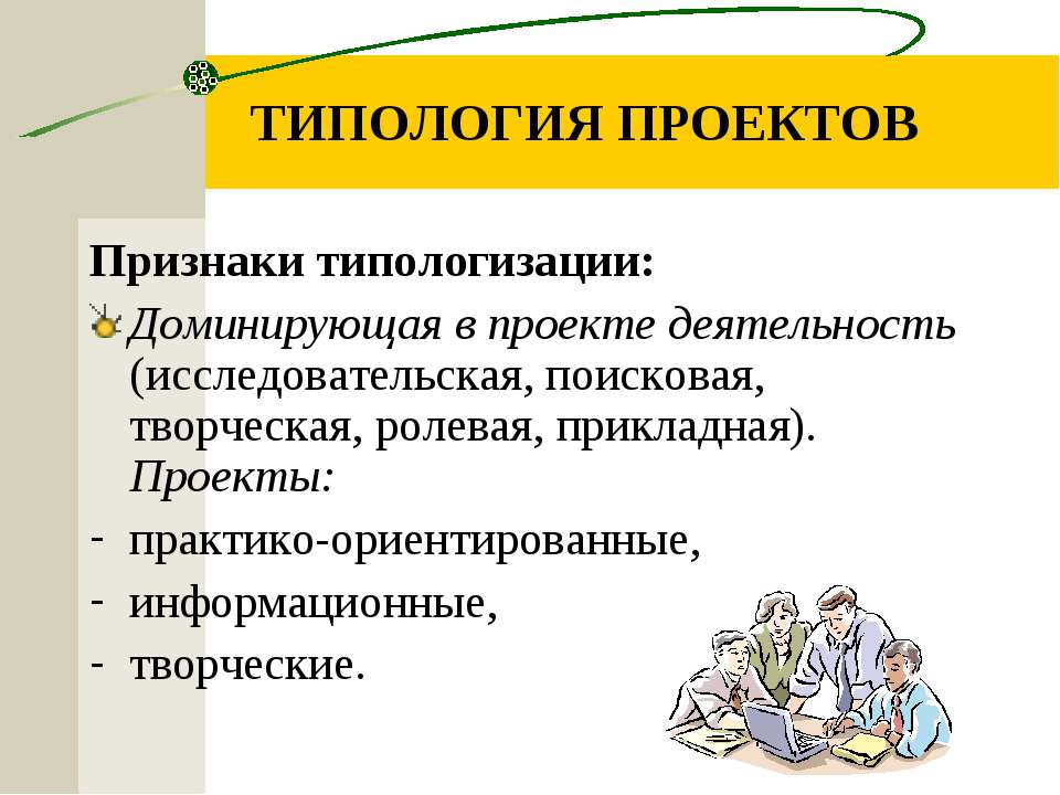 ТИПОЛОГИЯ ПРОЕКТОВ Признаки типологизации: Доминирующая в проекте деятельност...