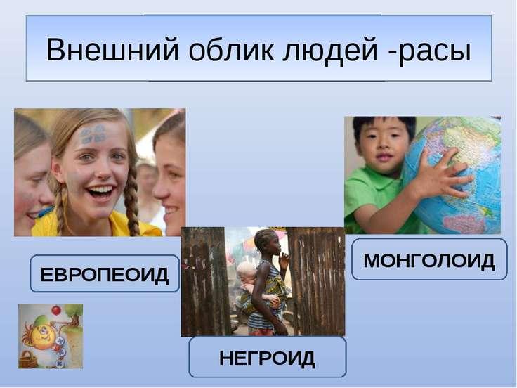 ЛЮДИ ЕВРОПЕОИД МОНГОЛОИД НЕГРОИД Внешний облик людей -расы