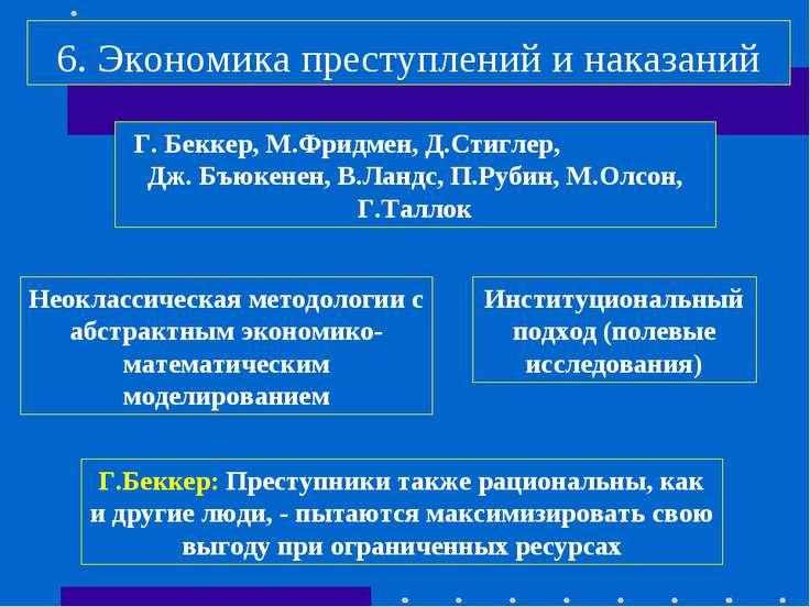 6. Экономика преступлений и наказаний Г. Беккер, М.Фридмен, Д.Стиглер, Дж. Бъ...