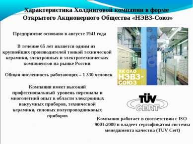 Характеристика Холдинговой компании в форме Открытого Акционерного Общества «...