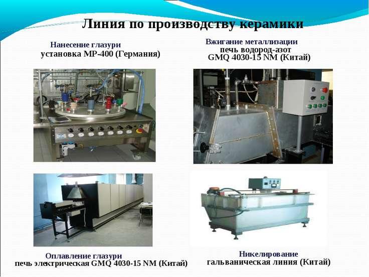 Нанесение глазури установка МР-400 (Германия) Вжигание металлизации печь водо...