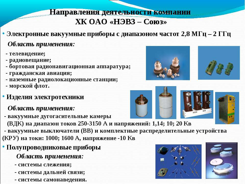 Направления деятельности компании ХК ОАО «НЭВЗ – Союз» Электронные вакуумные ...