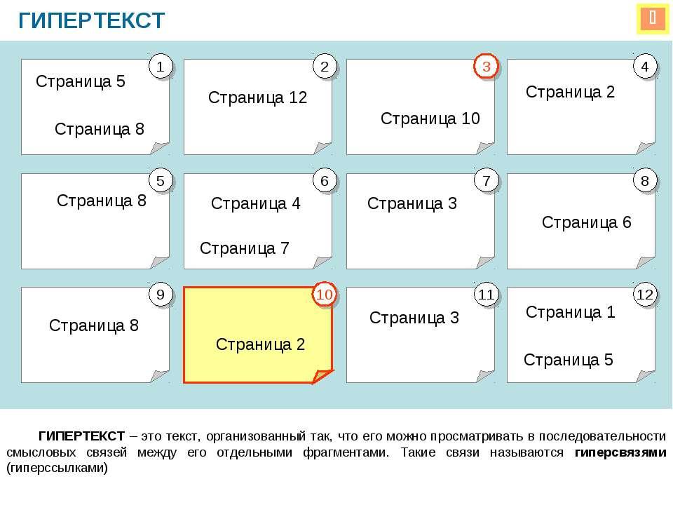 ГИПЕРТЕКСТ ГИПЕРТЕКСТ – это текст, организованный так, что его можно просматр...