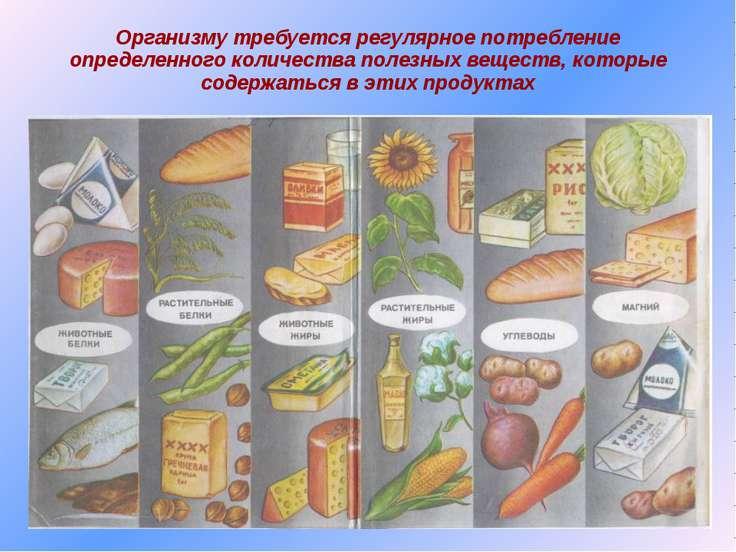 Организму требуется регулярное потребление определенного количества полезных ...