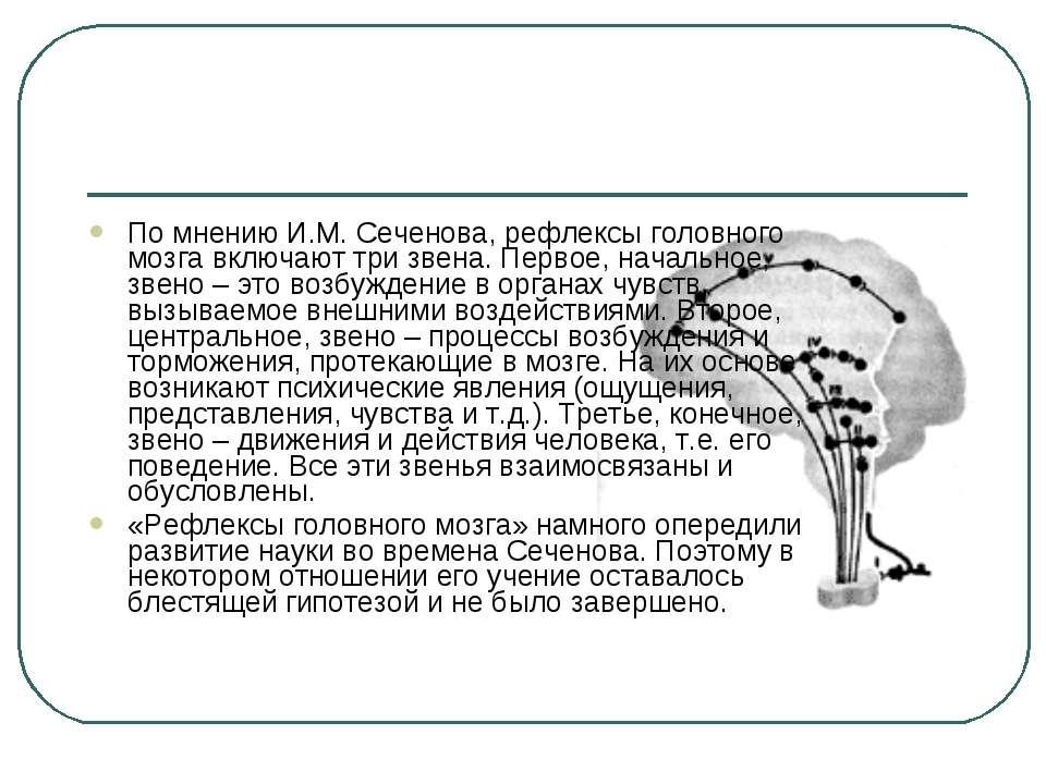 По мнению И.М.Сеченова, рефлексы головного мозга включают три звена. Первое,...