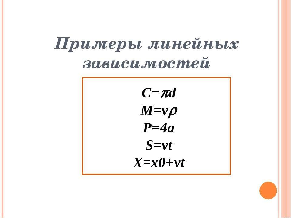 Примеры линейных зависимостей C= d M=v P=4a S=vt X=x0+vt