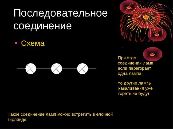 Последовательное соединение Схема При этом соединении ламп если перегорает од...