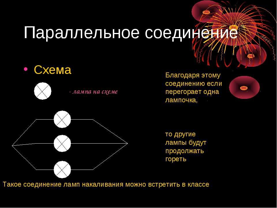 Параллельное соединение Схема - лампа на схеме Благодаря этому соединению есл...