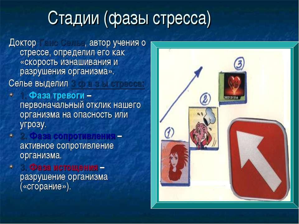 Стадии (фазы стресса) Доктор Ганс Селье, автор учения о стрессе, определил ег...