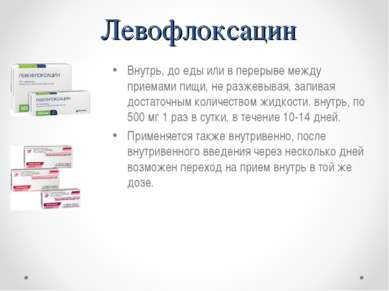 Левофлоксацин Внутрь, до еды или в перерыве между приемами пищи, не разжевыва...