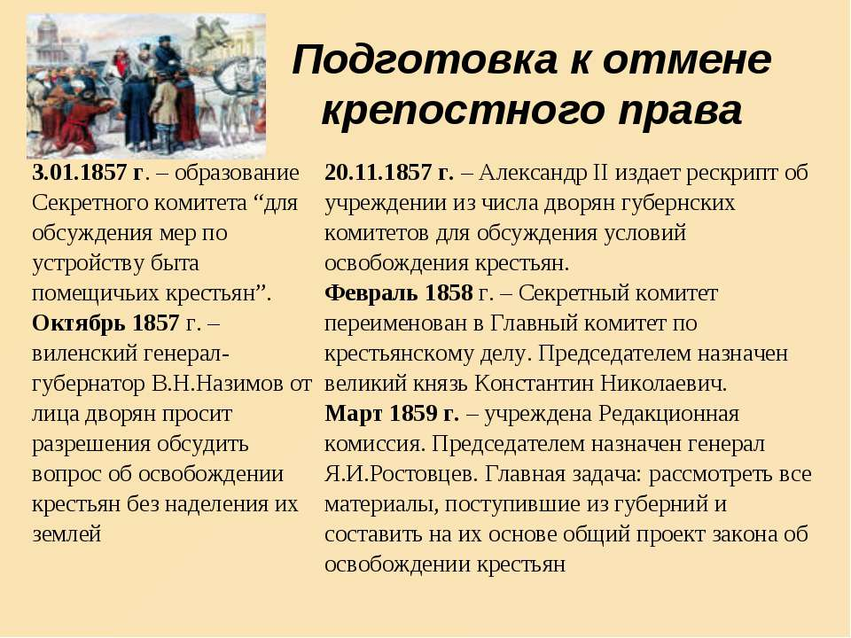 Подготовка к отмене крепостного права 3.01.1857 г. – образование Секретного к...