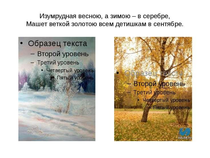Изумрудная весною, а зимою – в серебре, Машет веткой золотою всем детишкам в ...