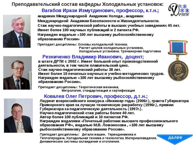 Преподавательский состав кафедры Холодильных установок: Вагабов Ирази Измутди...
