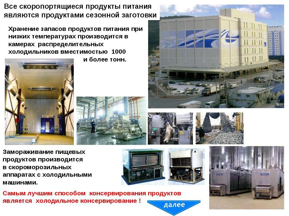 Замораживание пищевых продуктов производится в скороморозильных аппаратах с х...