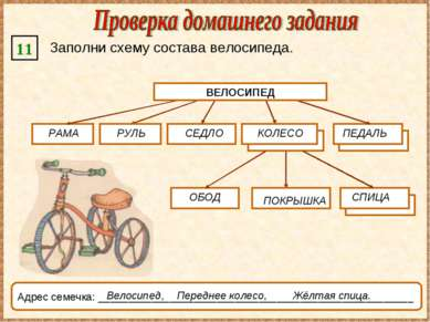 11 Заполни схему состава велосипеда. ВЕЛОСИПЕД СЕДЛО ОБОД Адрес семечка: ____...
