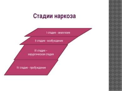 Стадии наркоза I стадия - аналгезия II стадия - возбуждение III стадия – хиру...