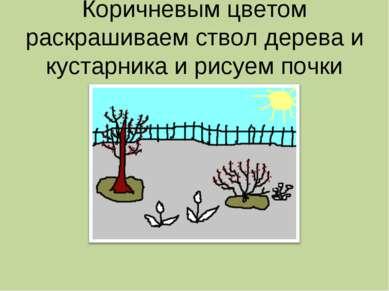 Коричневым цветом раскрашиваем ствол дерева и кустарника и рисуем почки