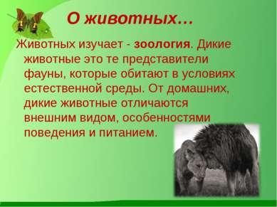 О животных… Животных изучает - зоология. Дикие животные это те представители ...
