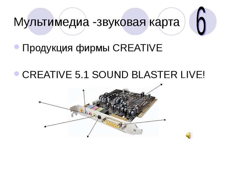 Мультимедиа -звуковая карта Продукция фирмы CREATIVE CREATIVE 5.1 SOUND BLAST...