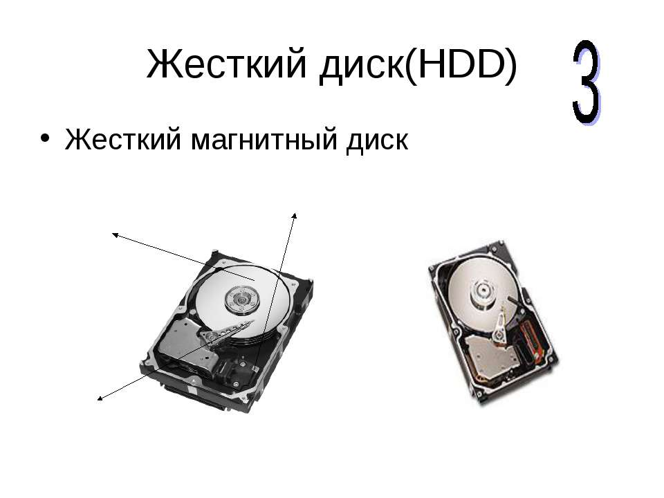 Жесткий диск(HDD) Жесткий магнитный диск Магнитные диски Блок считывающих гол...