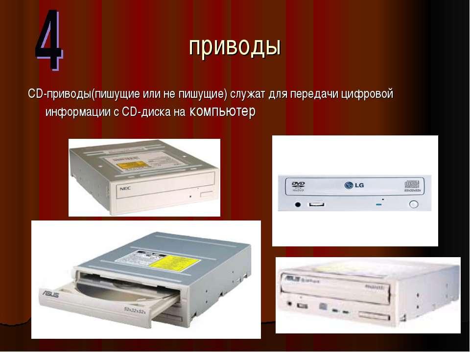 приводы CD-приводы(пишущие или не пишущие) служат для передачи цифровой инфор...
