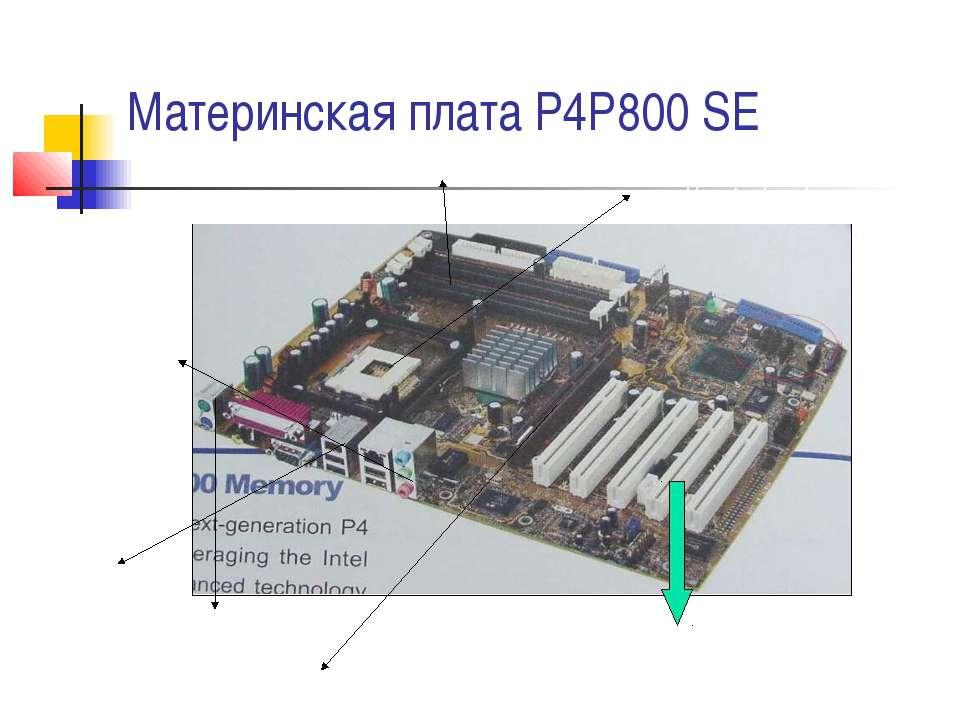 Материнская плата P4P800 SE USB выходы Выходы под микрофон под колонки Порты ...