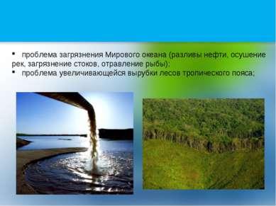 проблема загрязнения Мирового океана (разливы нефти, осушение рек, загрязнени...