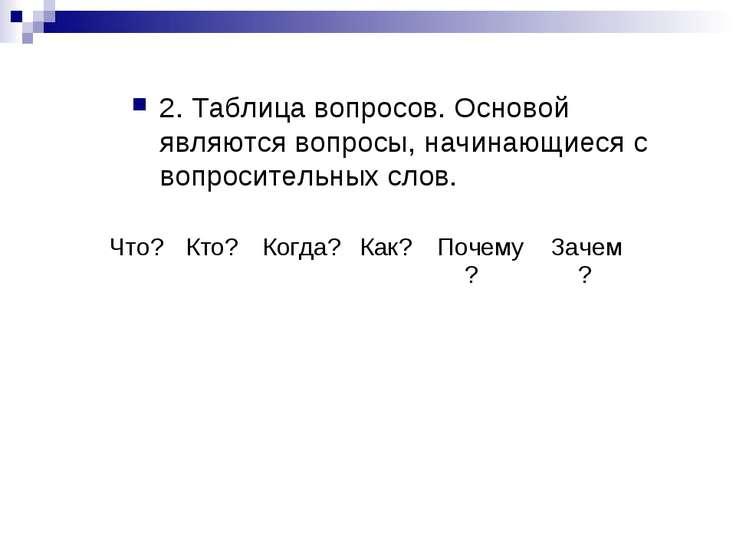 2. Таблица вопросов. Основой являются вопросы, начинающиеся с вопросительных ...