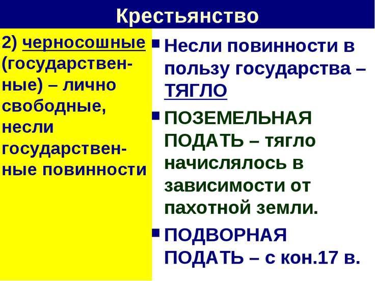 Крестьянство 2) черносошные (государствен-ные) – лично свободные, несли госуд...