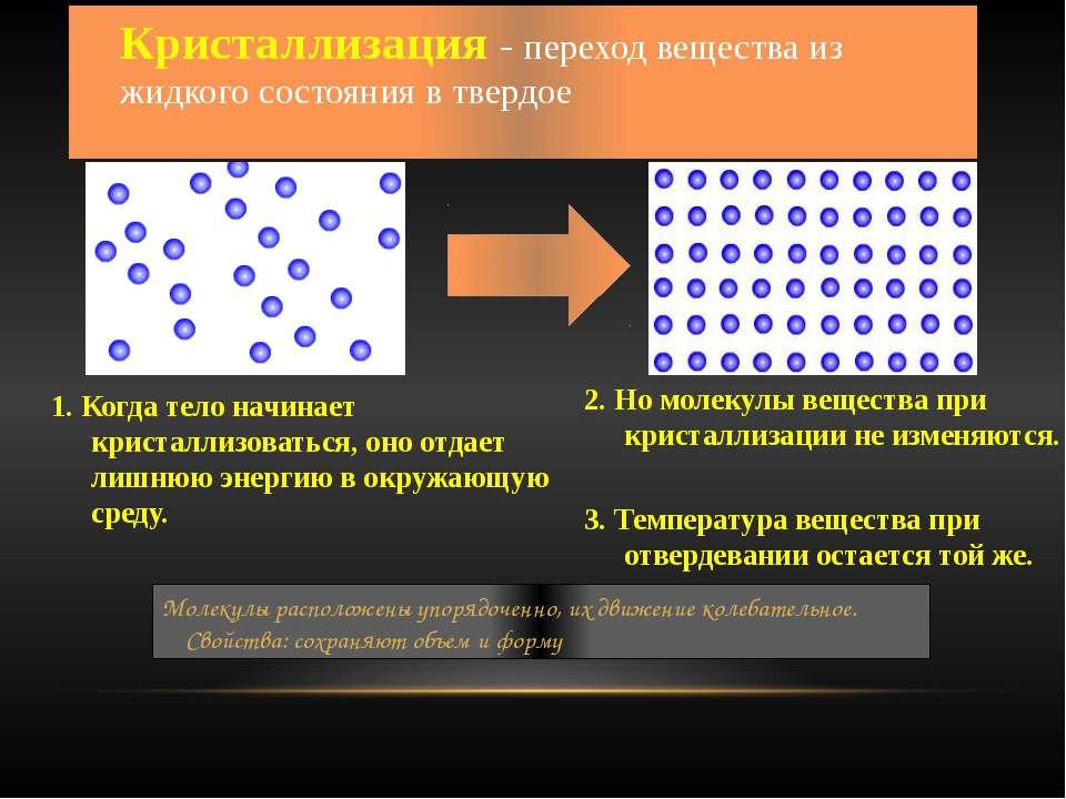Кристаллизация - переход вещества из жидкого состояния в твердое 1. Когда тел...